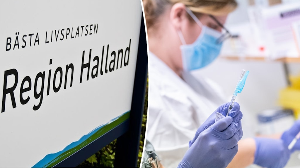 Skylt region Halland och coronavaccinering.