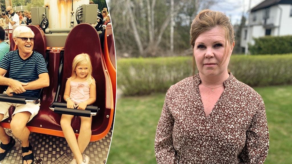 Lindas pappa. Lindas dotter åker karusell. Linda står på sin tomt.