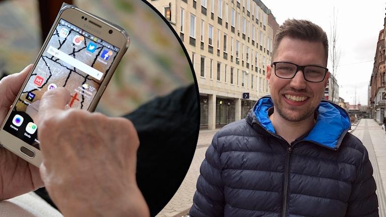 En senior med mobiltelefon och ett foto av en man utomhus i centrala Borås.