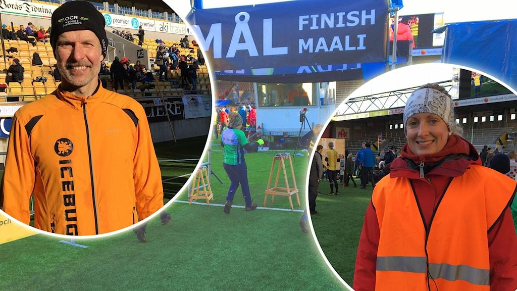 Tom Nilsson i sin gula träningsjacka och Frida Stolt med en orange reflexväst på Borås Arena.