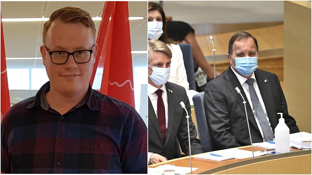 En bild på en man i glasögon. Till höger en bild på stefan Löfven.