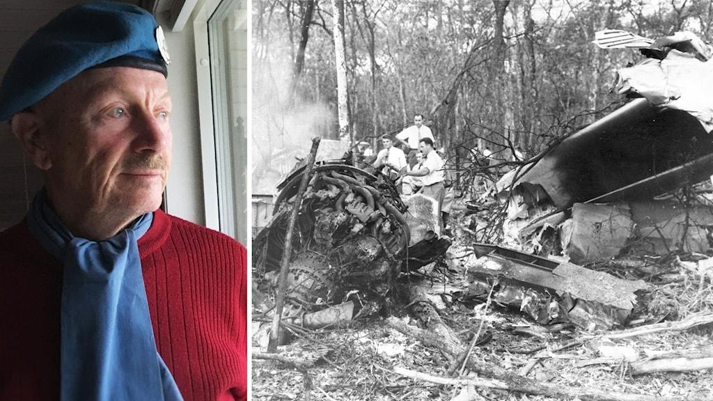 Kjell Samrud i sin blå basker. Collage med en bild från Dag Hammarskölds flygkrasch.