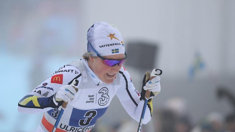 Hanna Falk åker skidor i vit landslagsdräkt.