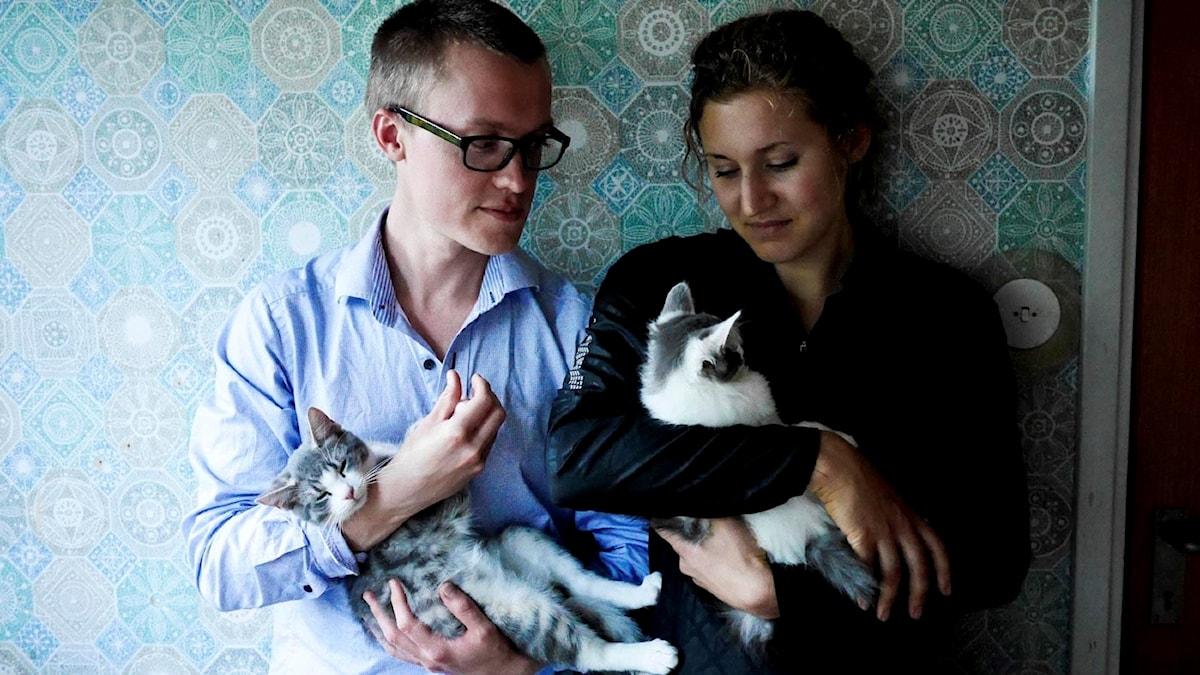 Anton Landgren och Malin Nylén älskar sina katter Tissel och Tassel, men inte att laga mat.