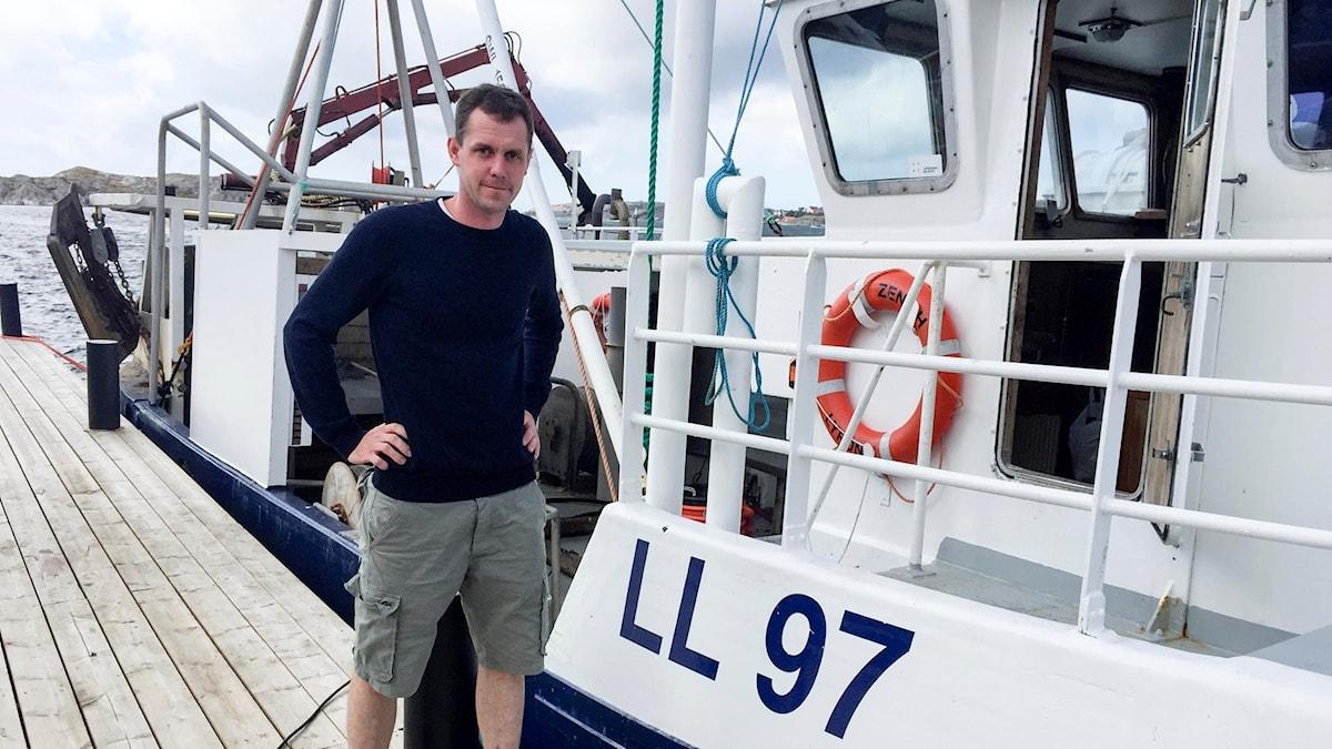 Erik Lyräng och hans båt Zenith.