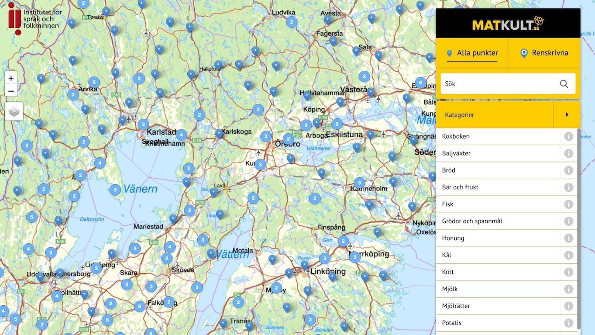 Sök på kartan efter mathistoria från din trakt.