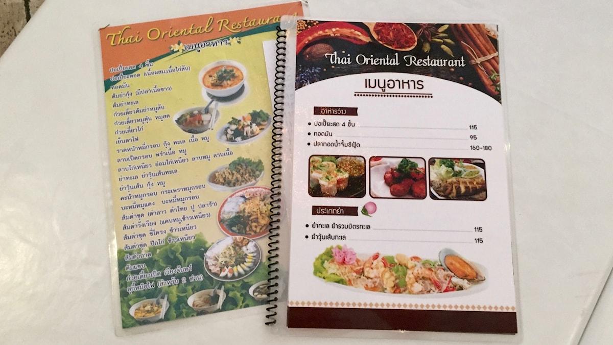 Här är de - menyerna på thai!