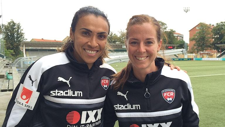 Marta Vieira da Silva och Lotta Schelin på Malmö IP