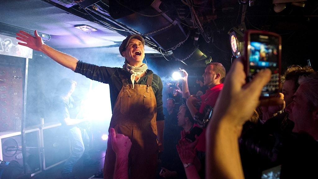 David Lee Roth i Van Halen, glad på scen i New York 2012. Foto: Charles Sykes/TT.