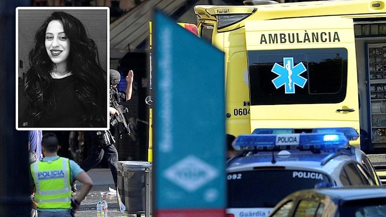 Infälld porträttbild Rojin Ghanipour och ambulanser Barcelona.