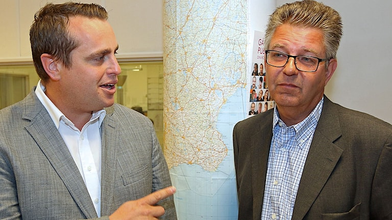 Staffanstorps kommunstyrelseordförande Christian Sonesson (M) och oppositionsrådet Pierre Sjöström (S).