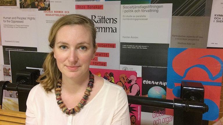 Rebecca Selberg, biträdande lektor i genusvetenskap vid Lunds universitet och forskningsledare. Foto: Petra Haupt/Sveriges Radio