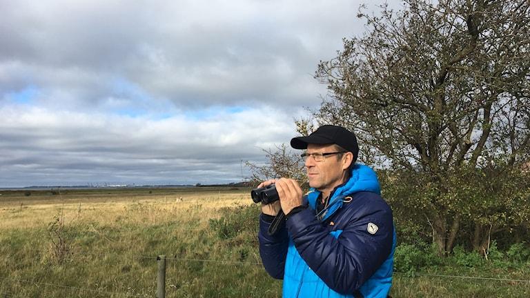 Ornitologen Hans Nordius på spaning efter gäss.
