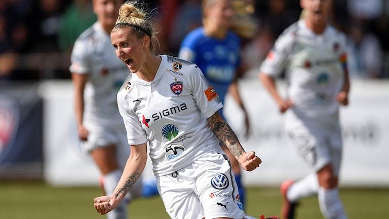 Anja Mittag gjorde ett av Rosengårds mål i cupen borta mot Asarum. Foto: Björn Lindgren/TT.