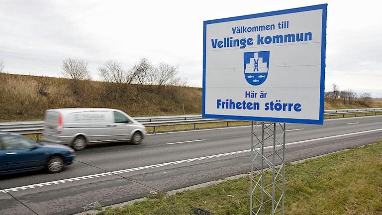 Skylt välkomnar till Vellinge Kommun. Foto: Stig-Åke Jönsson/Scanpix