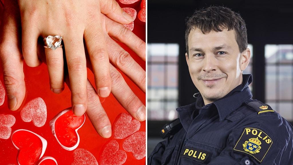 Två bilder. En föreställer två händer som håller om varandra runtomhjärtan. den andra på en man i polisuniform.