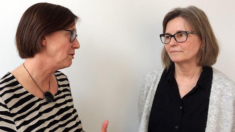 Lena Malmström och Anne-Marie Scholander. Foto: Petra Haupt/Sveriges Radio.