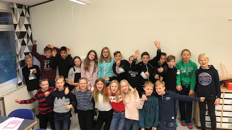 Klass 5B på Skönadalsskolan i Hofterup. Foto: Sofie Ericsson/Sveriges Radio.