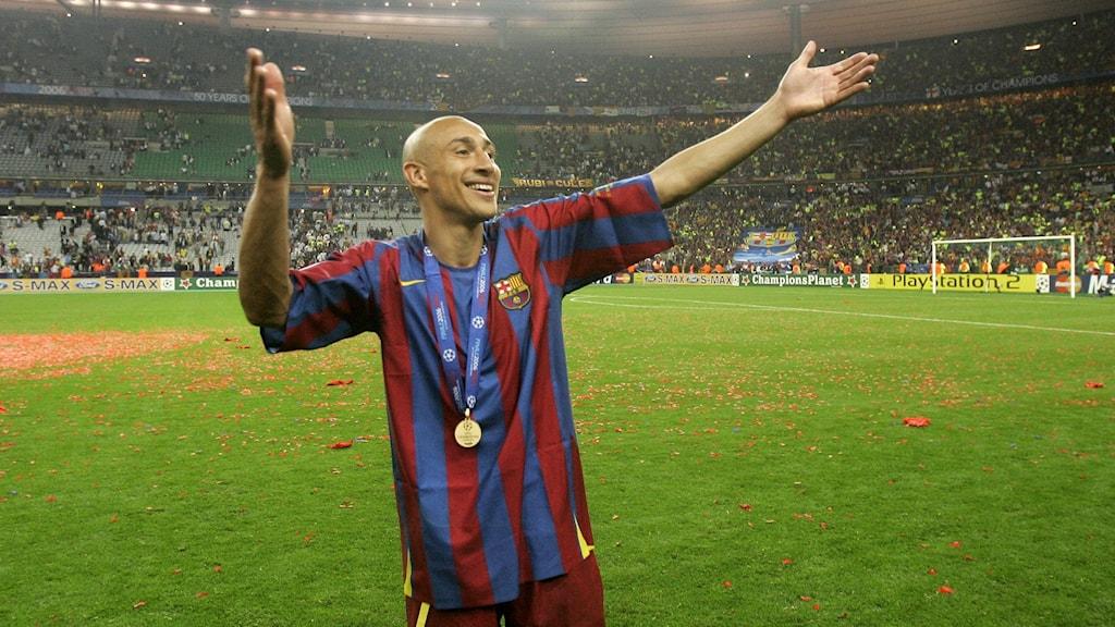 Henrik Larsson i Barcelonas tröja.