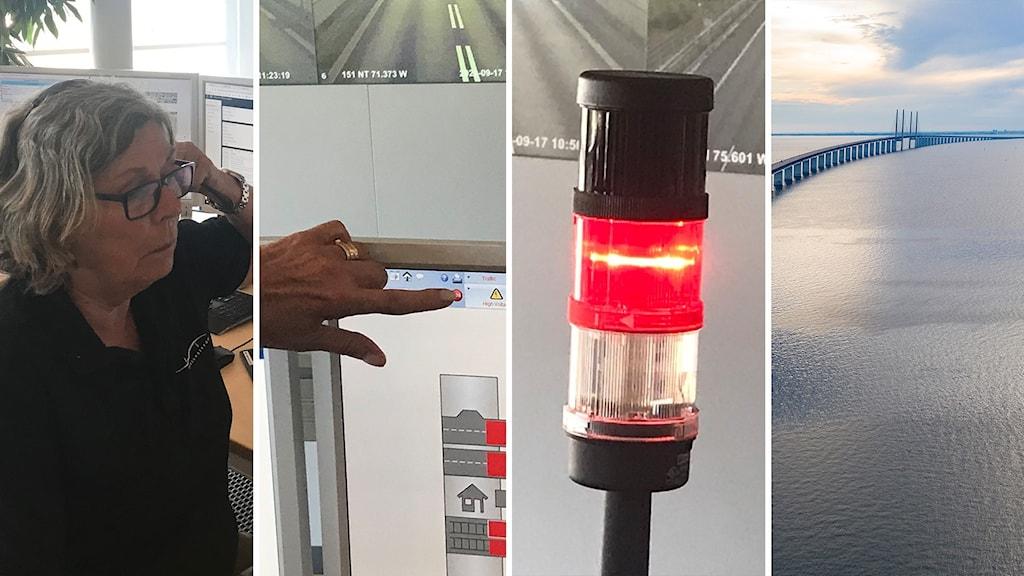 kvinna, knapp, lampa, bro