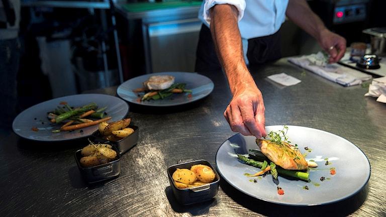 Kock lägger fram fisk.