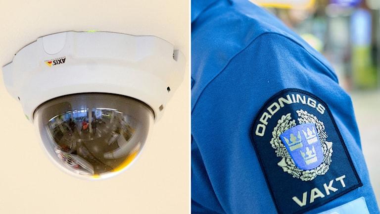En övervakningskamera i taket och ordningsvaktsemblem på en ordningsvakts tjänstekläder. Foto: Stig-Åke Jönsson och Christine Olsson/TT