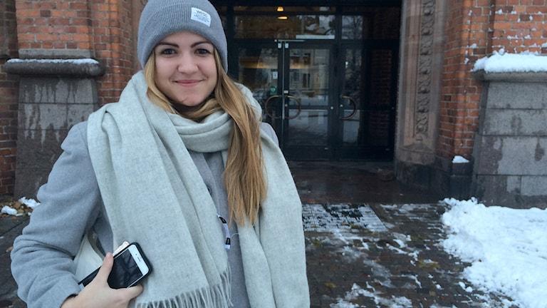 Johanna Caminati Engström, huvudsamordnare, studenternas valvaka, AF-borgen i Lund. Foto: Martina Greiffe/Sveriges Radio