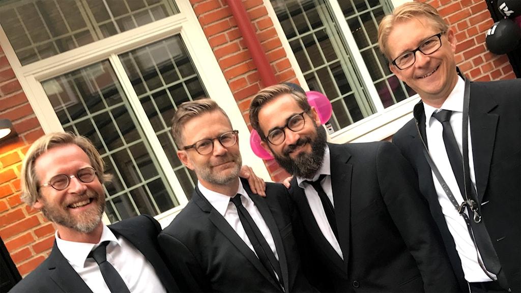Bandet Verklighetens folk på P4 Malmöhus innergård.