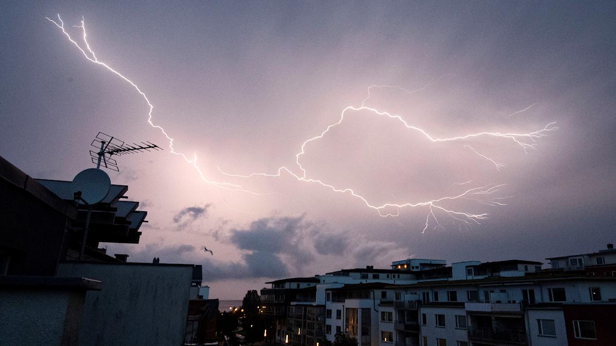 MALMÖ 2019-06-12 En blixt sprider ut sig på himlen över Scaniabadet i Malmö då ett åskväder drog in tidigt på tisdagsmorgonen. Foto: Johan Nilsson / TT / Kod 50090