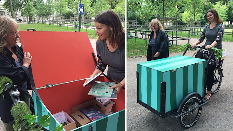 Bibliotekarie Helen Johansson och kommunikatören Ulrika Celin Wedin.