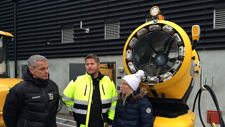 Bengt Olofsson, Skiteam Skåne, Ingvar Frej på idrottsservice i Lund och  Åsa Jensen, projektledare för Vinterlund.
