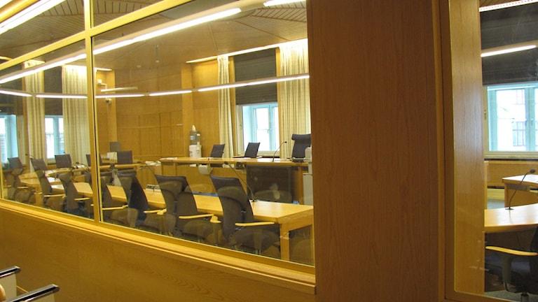 Rättegången hålls i säkerhetssalen. Foto: Anna Bubenko/SR