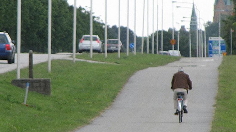 Cyklist. Foto: Tobias Wallin/Sveriges Radio