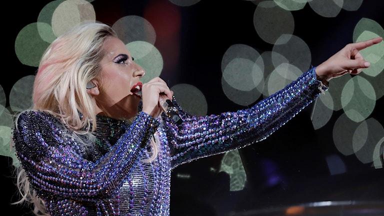 Lady Gaga i halvtidsshowen under Superbowl 2017. Foto: Darron Cummings/TT.