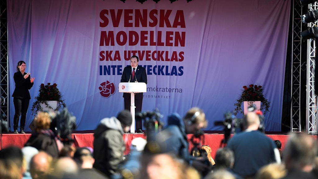 Stefan Löfven 1 maj-talar i Malmö. Foto: Emil Langvad/TT.