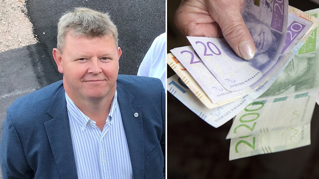 Man i kostym som blickar in mot kameran och bild på hand som håller i svenska sedlar mot svart bakgrund. Ett montage.