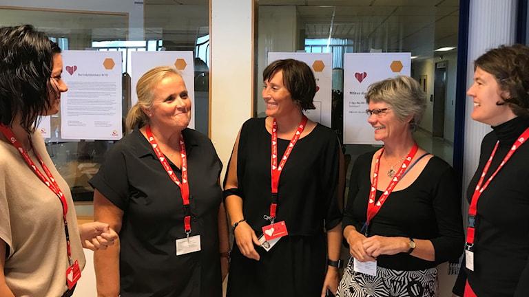 Christine Karström, Charlotta Andersson, Åsa Gustavsson, Beata Skanse och Linda Nyberg Pronk på CSK. Foto: Petra Haupt/Sveriges Radio