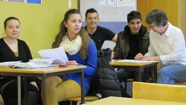 Elever som läser SFI vid KOmvux i Malmö. Foto: Jon Willén/ Sveriges radio
