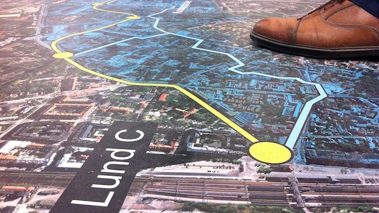 Karta över den planerade spårvägen i Lund.