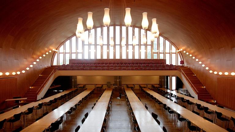 Det berömda Medborgarhuset i Eslöv där kommunfullmäktigemötena hålls. Foto: Ola Torkelsson/Scanpix