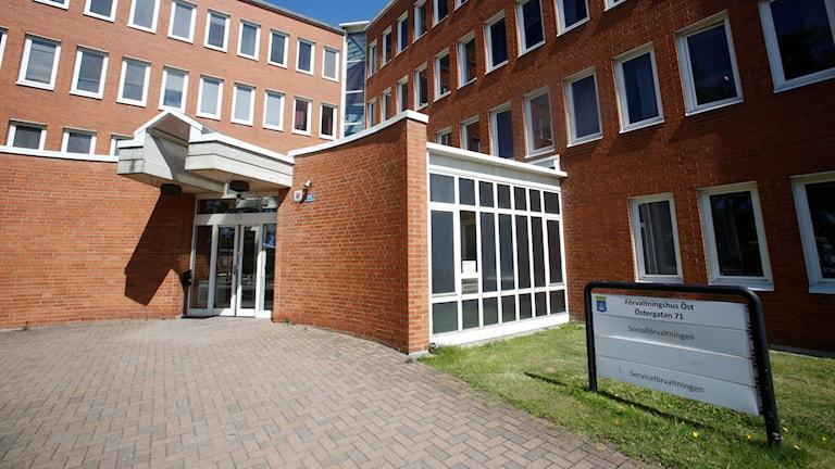 Ett socialkontor i Trelleborg, som attackerades med en handgranat 2016.