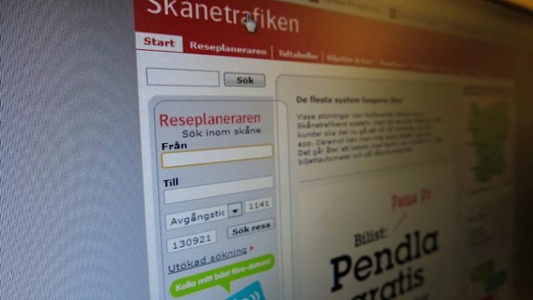 Skånetrafikens hemsida, lördagen 20 september. Överbelastningsattackerna mot Skånetrafikens nät fortsätter men nu stryper företaget en del av den utländska datatrafiken till hemsidan under resten av veckan. Foto: Karin Olsson-Bendix/Sveriges Radio