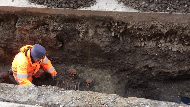Vid grävarbeten på Djäknegatan i Malmö hittades på förmiddagen flera skelett. Foto: Thobias Ligneman/Sveriges Radio
