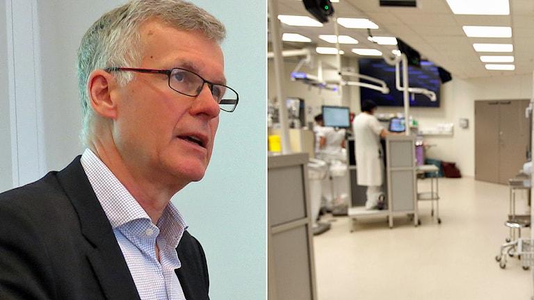 Harald Roos, divisionschef Skånes universitetssjukhus och personal i ett akutrum på akuten i Malmö. Foto: Sveriges Radio/TT