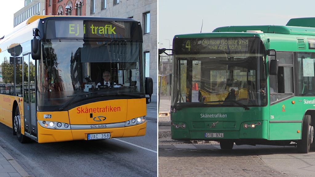 Regionbuss och stadsbuss i Malmö. Foto: Maria Andersson/Sveriges Radio