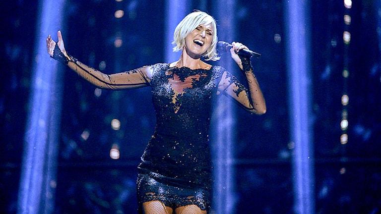 Sanna Nielsen, Sverige, under kostymrepet inför första semifinalen i Eurovision Song Contest. Foto: Janerik Henriksson / TT