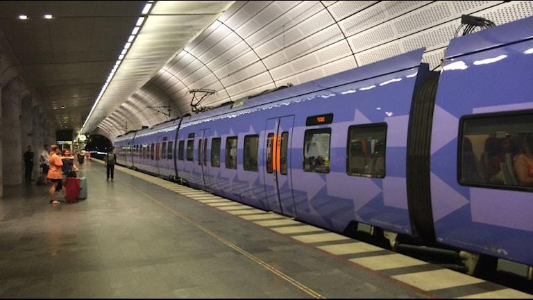 Bilden visar ett tåg på Triangeln. Foto: Melissa Dahlqvist/Sveriges Radio.