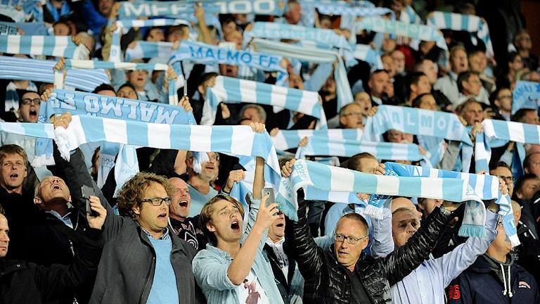 Malmöklacken jublar under onsdagskvällens kvalmatch till Champions League mellan Malmö FF och FC Salzburg på Swedbank Stadion. Foto: Björn Lindgren/TT
