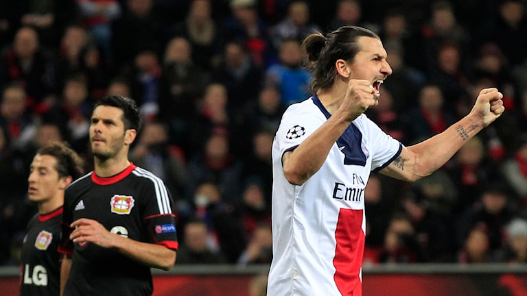 Zlatan Ibrahimovic jublar efter mål i Champions League för Paris SG mot Leverkusen. Foto: Frank Augstein/TT