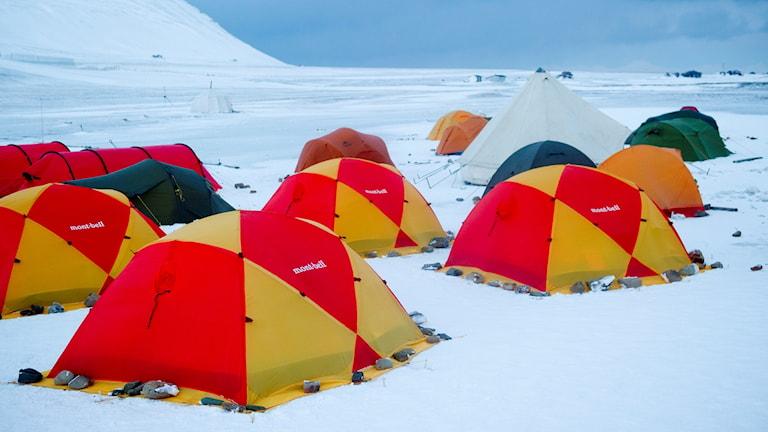 tält i snö